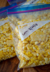 Bagged frozen corn