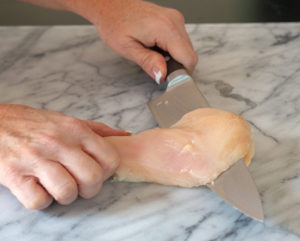 Make quick-cooking chicken cutlets by cutting chicken breast halves horizontally.