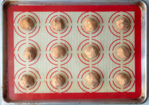cinnamon chip snickerdoodles on a tray ready to bake