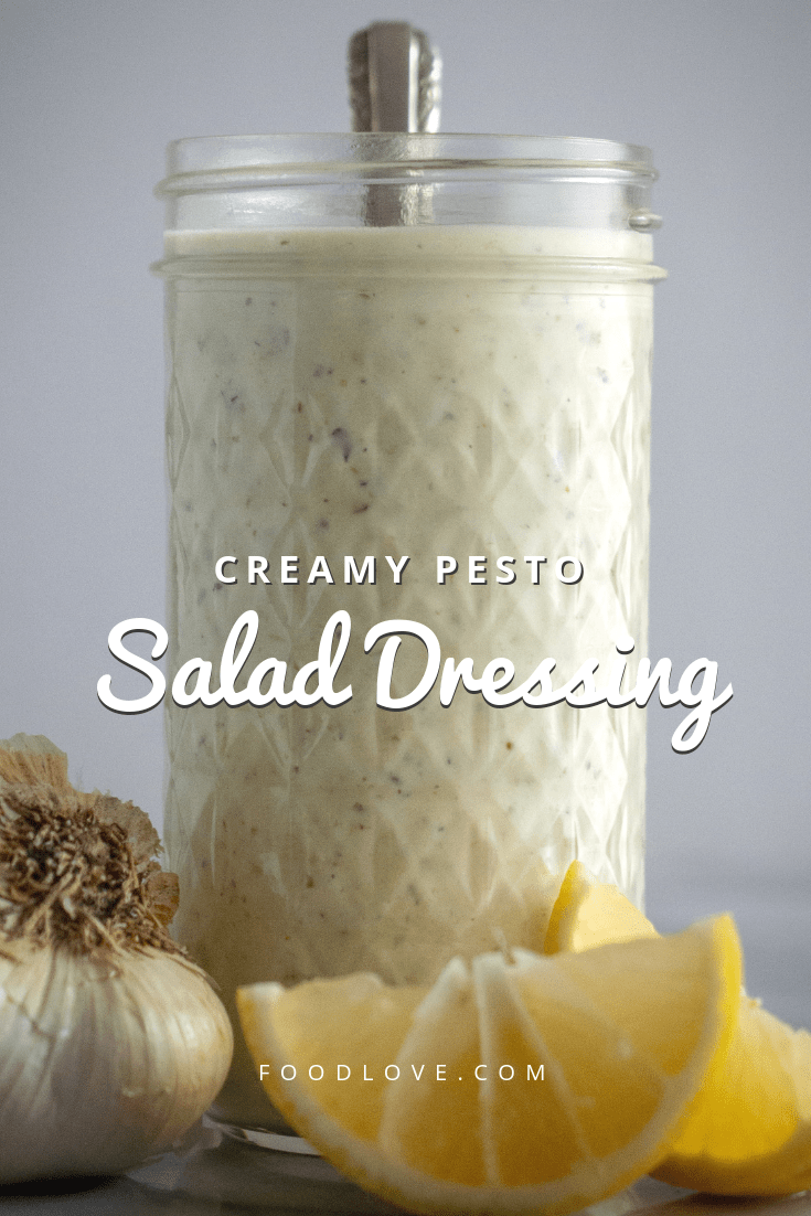 This creamy pesto salad dressing recipe uses prepared pesto for tons of fresh flavor. Just like the creamy pesto dressing at The Old Spaghetti Factory, only better! Just five ingredients and five minutes to make. #salad #saladrecipes #saladdressing #copycat #copycatrecipes #veggies #easyrecipe