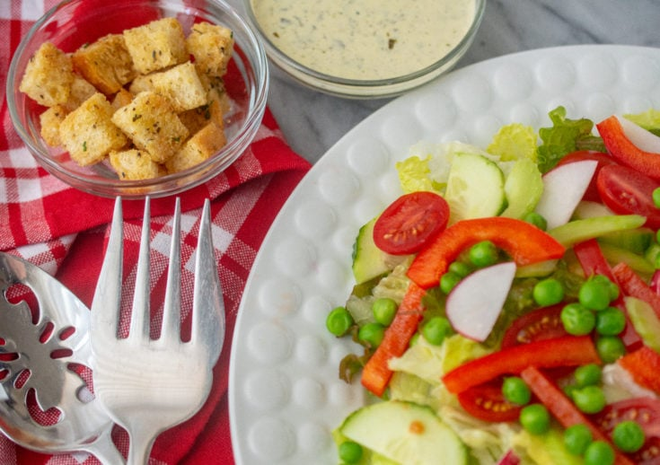Red & Green Salad with Creamy Pesto Dressing