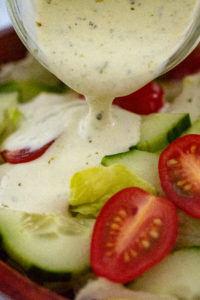 Red and Green Salad with Creamy Pesto Dressing