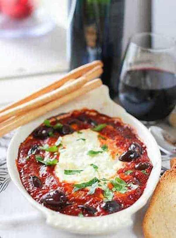 Baked goat cheese appetizer via Laughing Spatula