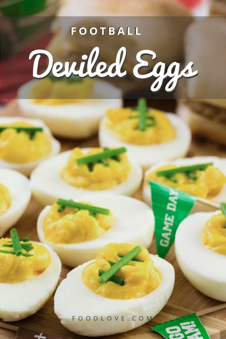 Tasty deviled eggs are a game day classic! These adorable football deviled eggs are healthy, filling and full of flavor, and they deserve a spot on your game day buffet. #gameday #gamedayappetizers #deviledeggs #deviledeggrecipes #appetizers #partyfood #superbowl #superbowlparty #superbowlpartyfood #footballfood #footballparty #foodlove