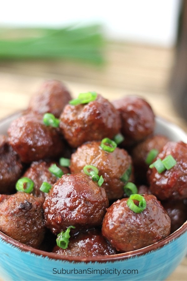 Crock Pot 3-ingredient meatballs, via Suburban Simplicity