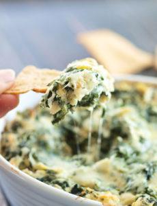 Skinny Spinach Artichoke Dip via Happy Healthy Mama