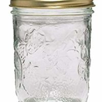 Ball 40801 Golden Harvest Mason Regular Mouth 8oz Jelly Jar 12PK 'Vintage Fruit Design', RM 8 Oz Clear