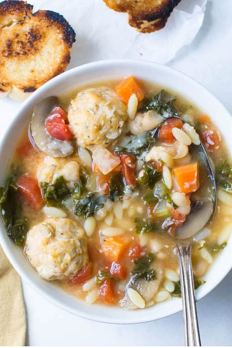 Kale Meatball and White Bean Soup