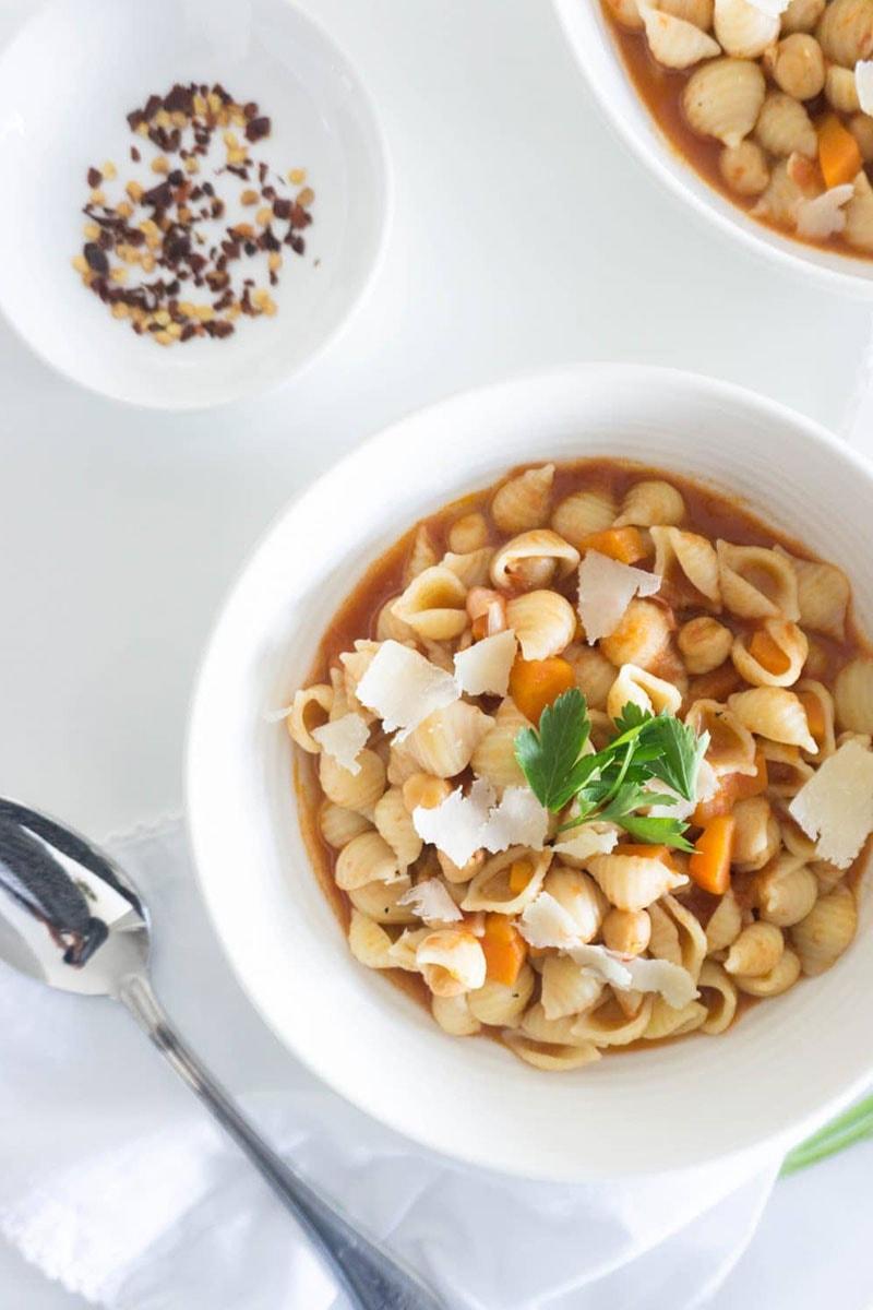 Pasta E Ceci in a bowl