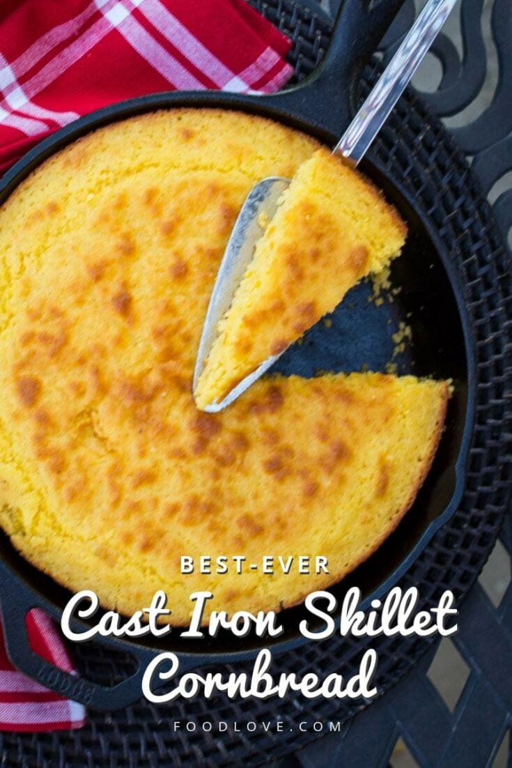 Sweet but not too sweet, moist and tender, this really is the best ever cast iron skillet cornbread recipe! Based on the famous Z'Tejas skillet cornbread. #cornbread #foodlove