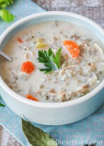 Lemon Chicken and Rice Soup with Kale