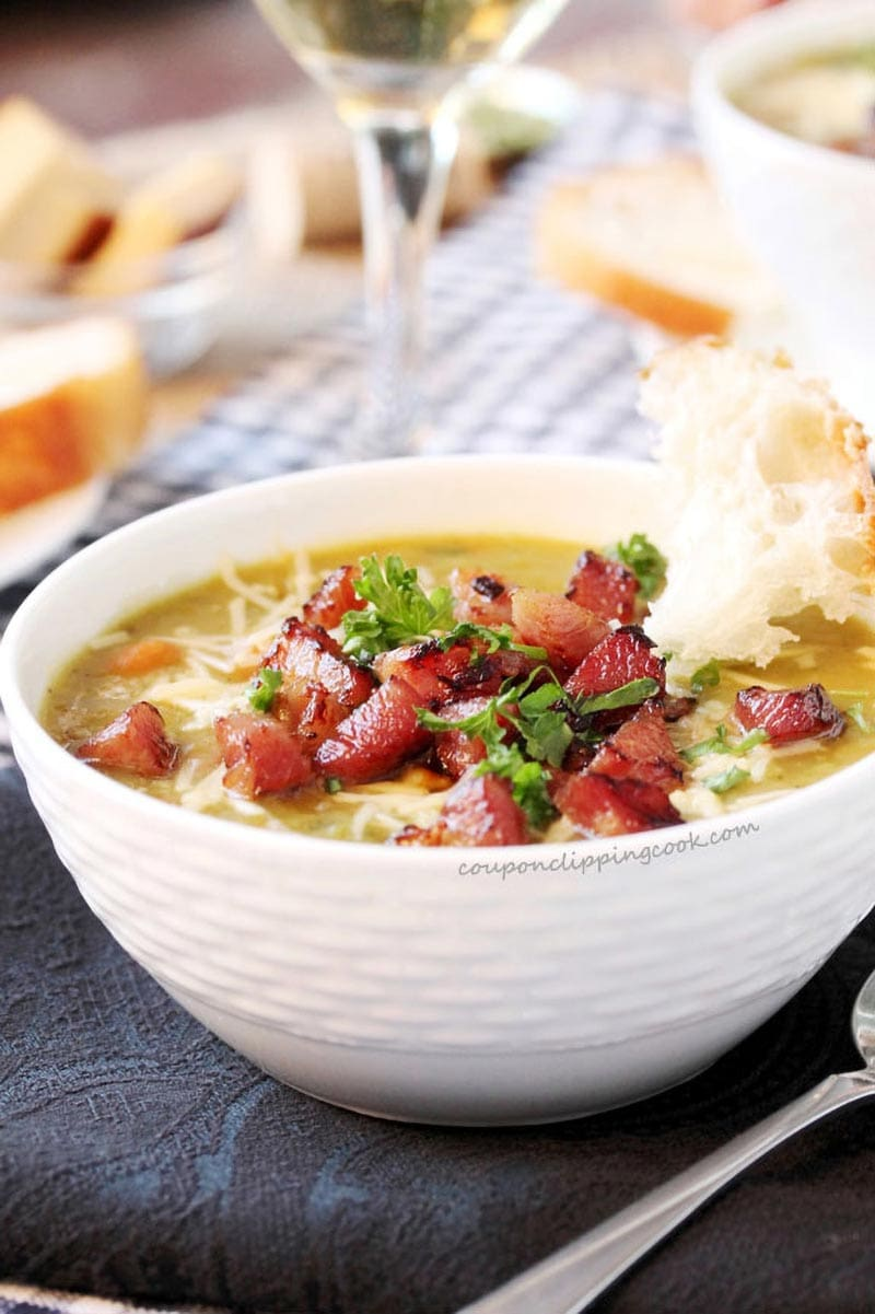 split pea and ham soup in a bowl