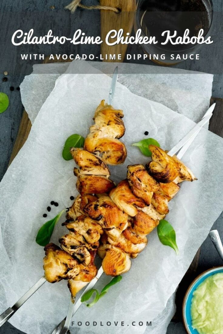 Cook these cilantro-lime chicken kabobs in the oven or on the grill, and enjoy a quick, delicious, and healthy dinner. #easydinnerideas #healthyrecipes #foodlove