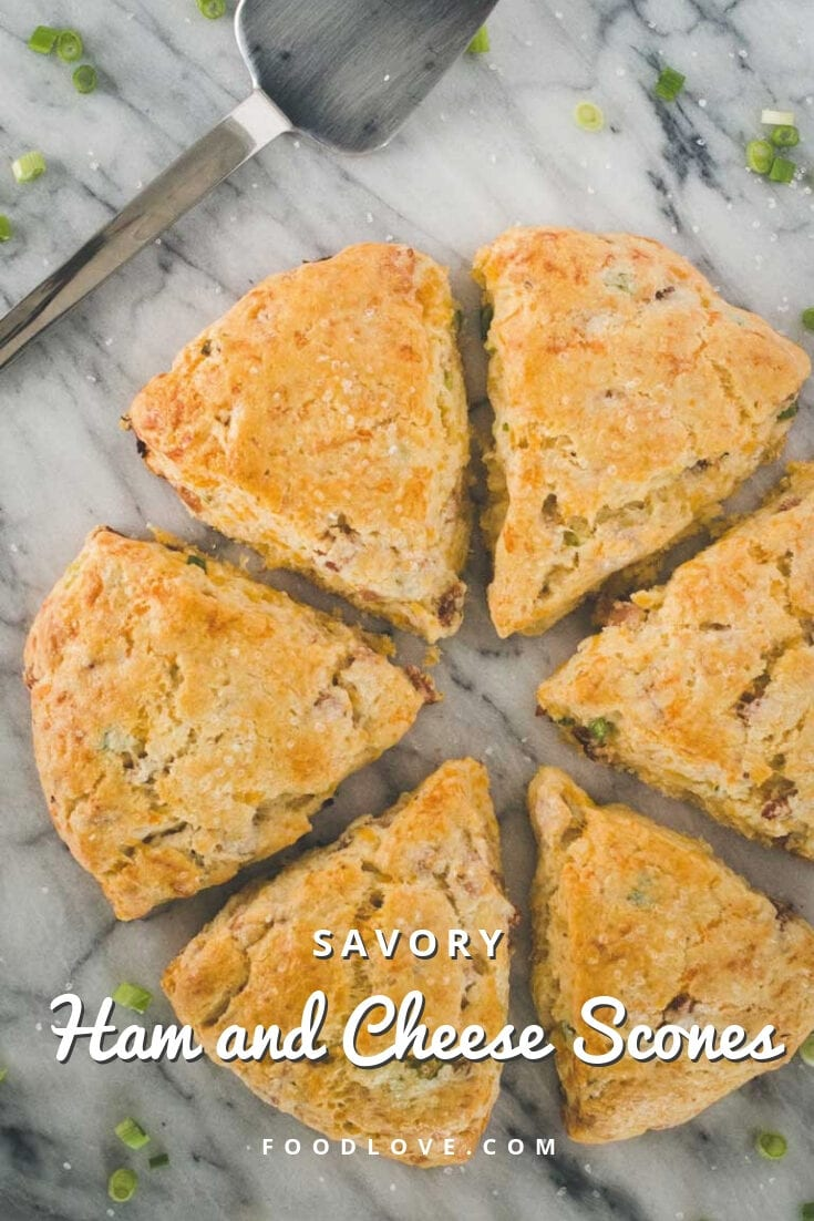These savory ham and cheese scones are full of cheesy, buttery goodness, studded with smoky ham, and sprinkled with sea salt. Making ham and cheese scones is absolutely THE BEST way to use leftover ham. #scones #foodlove