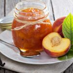 peach vanilla jam with fresh peaches