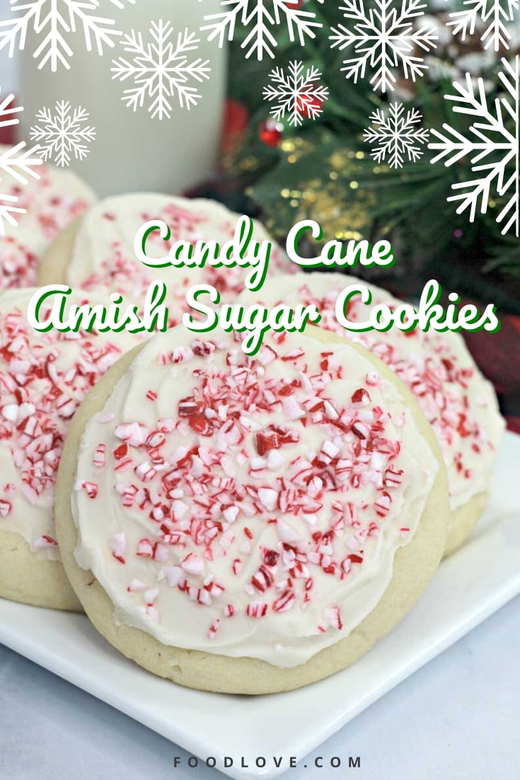 Candy cane Amish sugar cookies are simple to make, with no rolling required! These easy drop sugar cookies are crispy on the edges and soft in the middle. Crushed candy canes are the perfect holiday topping for these delicate peppermint sugar cookies. #holidayrecipes #christmascookies #amishcookies #foodlove
