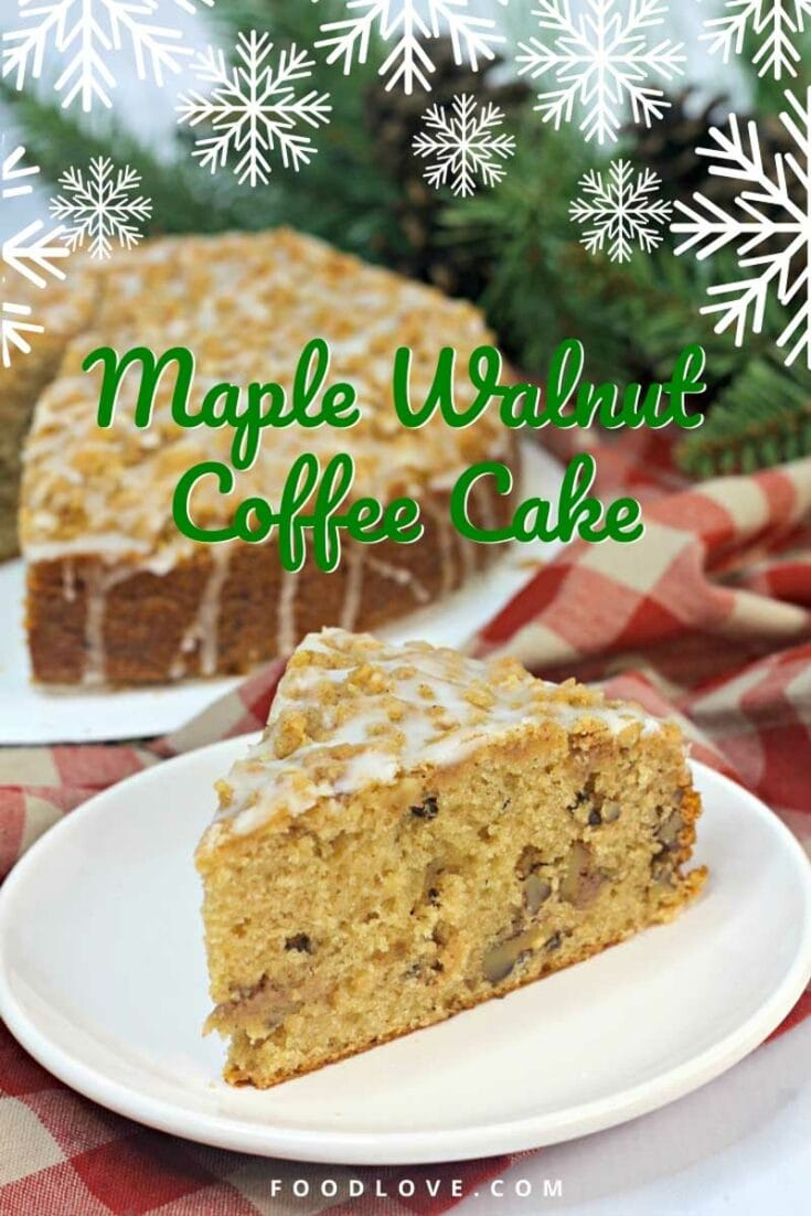 Maple, walnuts, brown sugar, and cinnamon are the perfect fall and holiday flavors for this maple walnut coffee cake. Walnuts add a crunchy texture and a rich, buttery, slightly fruity flavor that absolutely works in this maple cake recipe. Just a drizzle of sweet maple glaze takes this homemade coffee cake over the top.#maple #holidayrecipes #coffeecake #foodlove