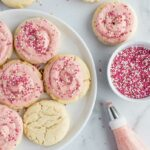 Amish Sugar Cookies with Strawberry Cream Cheese Frosting