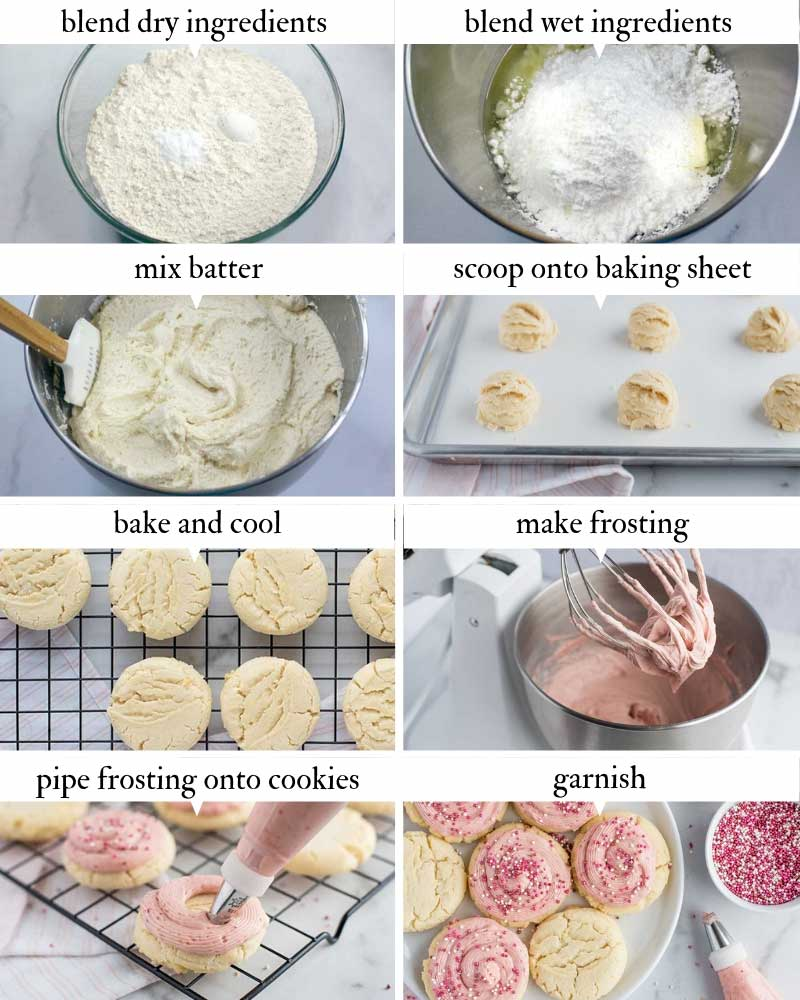 step by step Amish Sugar Cookies with Strawberry Cream Cheese Frosting