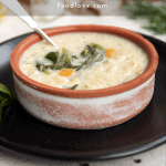 Pin for lemon chicken orzo soup recipe