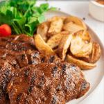 pinerest button for vegan seitan steak recipe