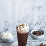 Pinterest button for vegan hot chocolate recipe