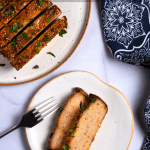 pinterest button of sliced chicken meatloaf with honey mustard glaze