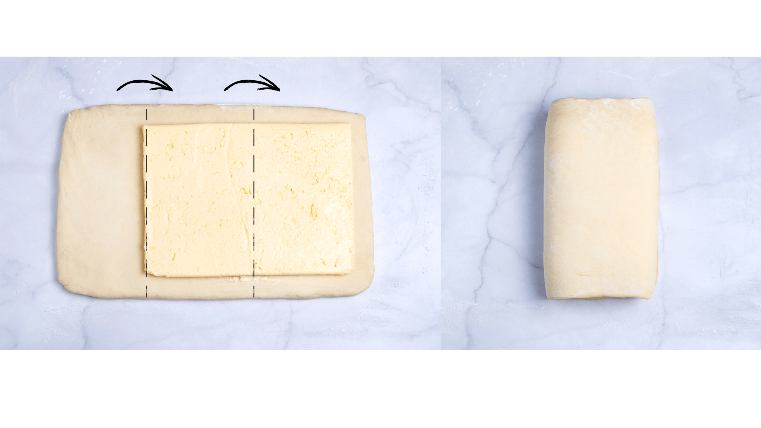 how to fold a croissant dough with a butter block in thirds