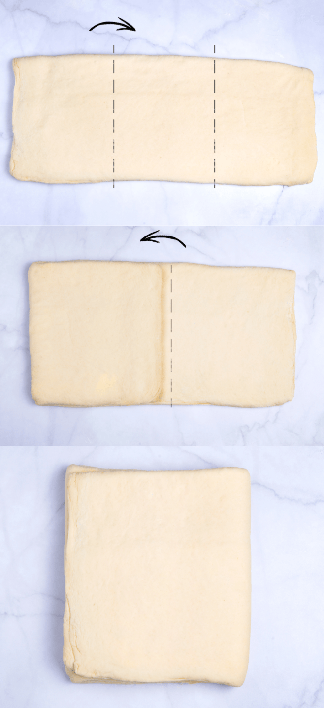 diagram of how to fold plant based croissant dough