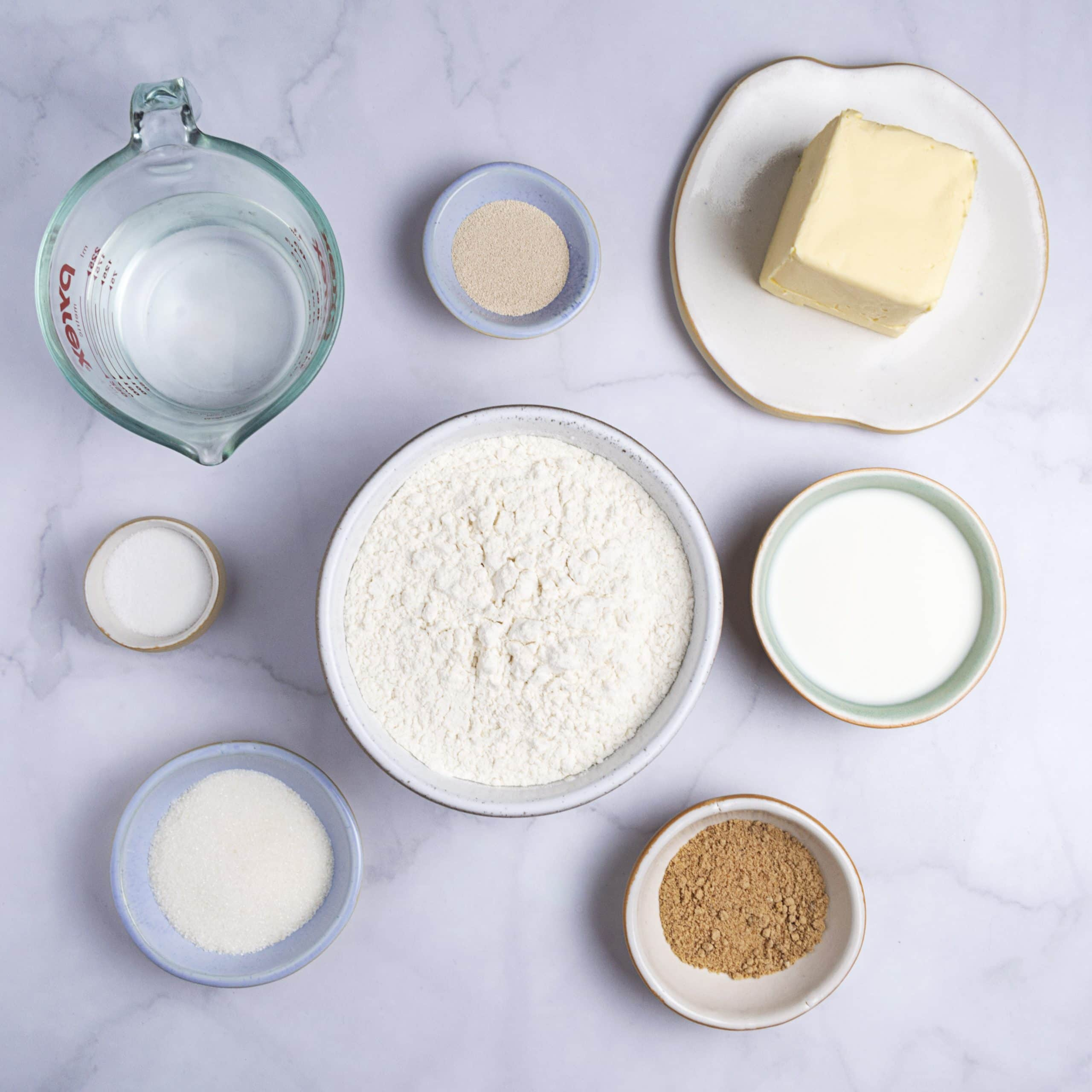 Ingredients for vegan croissants: butter, flour, sugar, water, yeast