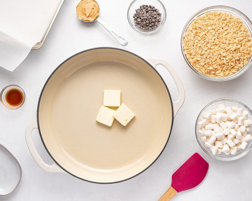 melting butter in a pot with theremaining ingredients for easy vegan rice crispy treats