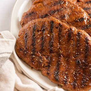 Vegan seitan steak with grill marks