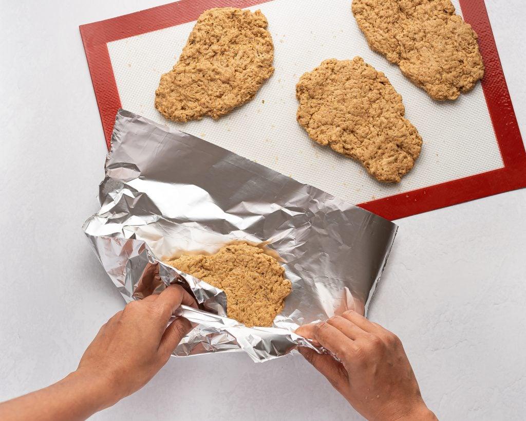 wrapping seitan steaks in tin foil