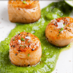 pinterest button for sous vide scallops recipe