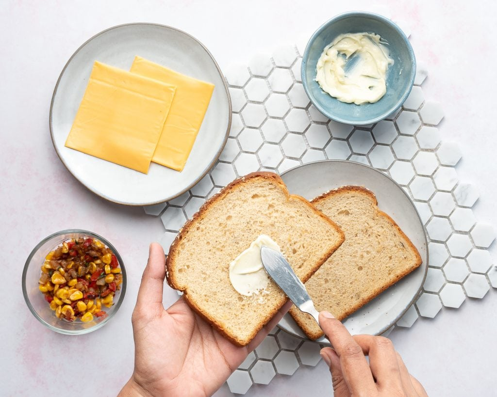 ingredients for healthy grilled cheese in air fryer