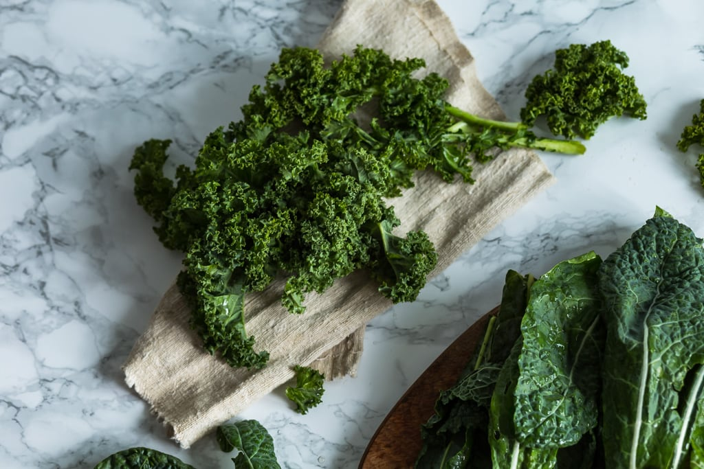 curly kale on a paper towel