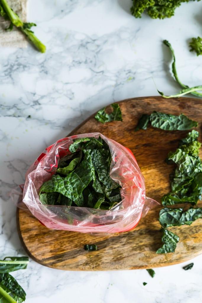 bag of frozen kale