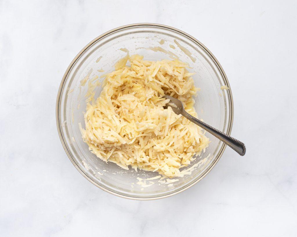 bowl hash brown pattie mixture before cooking