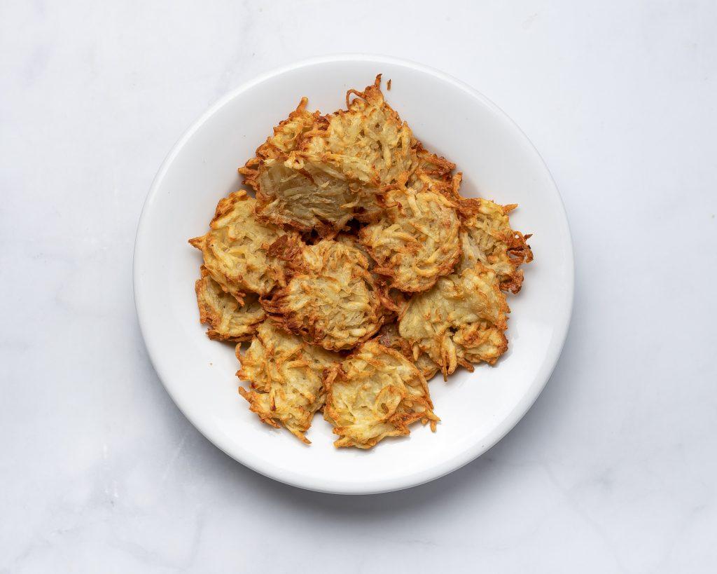 plate of crispy hash brown patties