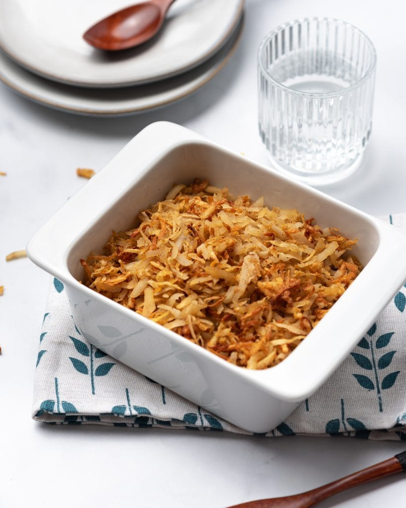 Air fryer Hashbrowns in a baking dish