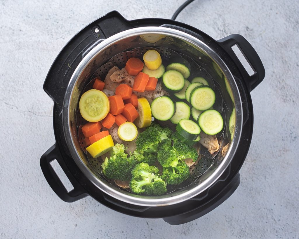 cooked vegetables in an electric pressure cooker